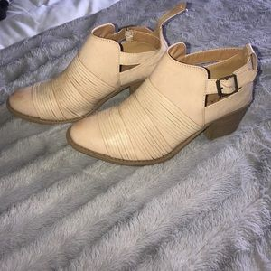 Tan/ cream booties with buckle!